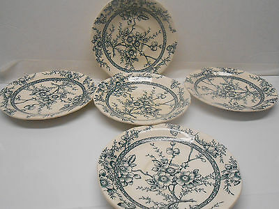 VINTAGE ALFRED MEAKIN BLUE MEDWAY DECOR LOT OF 5 SAUCERS Transferware pottery
