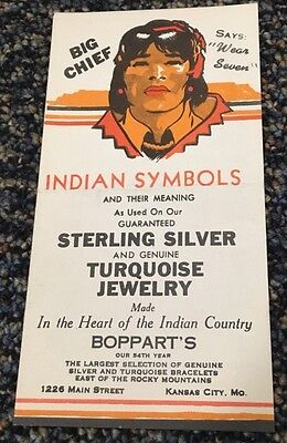 Bopparts Big Chief Indian Symbols Advertising Pamphlet Turquoise Jewelry