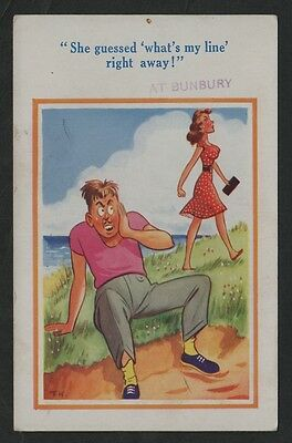 k1384)   COMIC PC -   SHE GUESSED 'WHAT'S MY LINE RIGHT AWAY  AT BUNBURY W.A