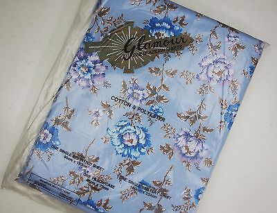 Blue Purple Vintage Poly Cotton Sheet Set Fabric Unused Sewing New