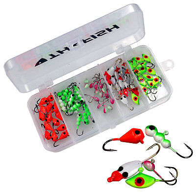 70Pcs Random Style THKFISH Ice Fishing Ant Drop Jig Head Single Hooks Fishin