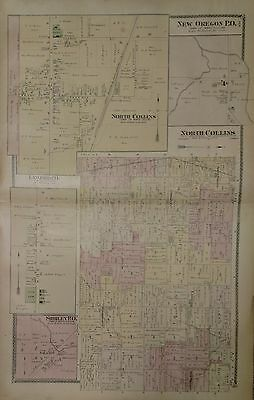 Antique Original 1880 Two Page Map of North Collins Twp, New York