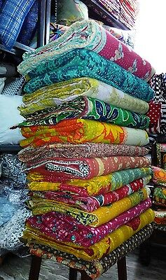 Vintage Kantha Quilt Reversible Throw Gudri Wholesale Handmade Indian Lot 20 pcs