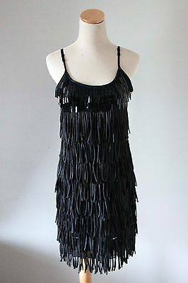 Women's Black Flapper Style Beaded Tassel Dress Size M. Party. Dress up. Glamour