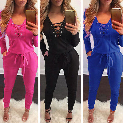 USA Women Lace-Up Clubwear Playsuit Bodycon Party Jumpsuit Romper Long Trousers