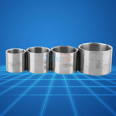 """1""""-2"""" Female Threaded Pipe Fittings Straight Coupling BSP SS304 Stainless Steel"""