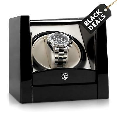 Black Automatic Rotating Wrist Watch Winder Collector Display Case Box Holder