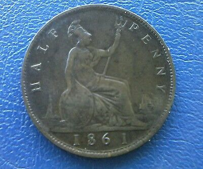 1861 Half Penny Young Bun Head Queen Victoria