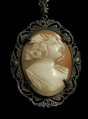Sterling Silver Marcasite VERY OLD Handcarved Cameo Pendant, Fancy Frame