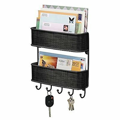 Mdesign Post Letter Rack Key Holder Organiser Kitchen Outdoor Porch Wall Mounted