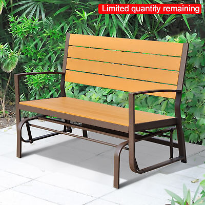 Outsunny 2 Seater Garden Bench Metal Glider Outdoor Patio Yard Rock Love Chair