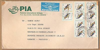 Kenya 1993 * Postly Used Cover To Pakistan Pia * 10 Tamps