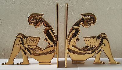 Walter Bosse Herta Ball The reader bookends brass gold plated 1950s vintage