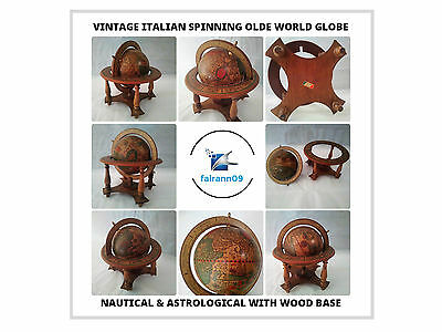 Vintage Italian Spinning Olde World Nautical & Astrological Globe With Wood Base