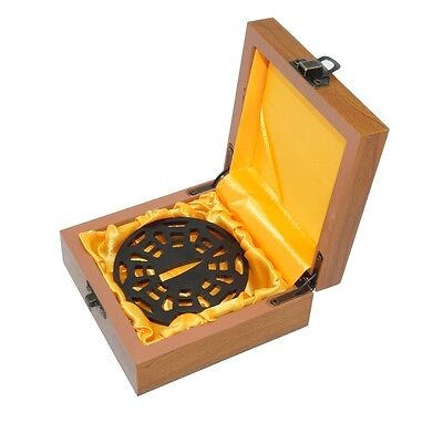 Iron Samurai Sword Tanto Tsuba Cobweb Pattern for Katana Wakizashi w/ Wooden Box