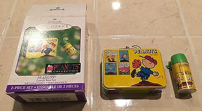 Hallmark 2-Piece Ornament 2000 Peanuts Lunch Box with Thermos Set