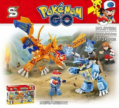 Pokemon GO Charizard VS Blastoise BUILDING BLOCK FIGURES DIY BOARD GAME KID TOY