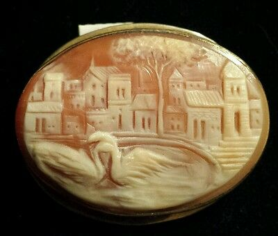 MASTER CARVER Cameo!! Swans, Foreground & Background Buildings, Trees -STERLING