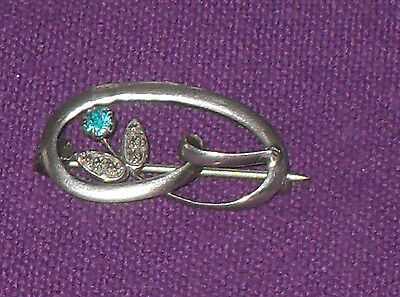 Antique Art Nouveau Charles Horner Sterling Silver Turquoise Stone Ribbon Brooch