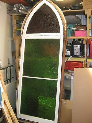Old Vintage Church Window With 3 Stained Glass Panels (Top Opens)