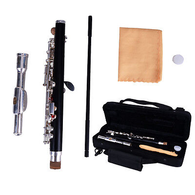 New Professional C Key Cupronickel Silver Woodwind Piccolo with Case + Cloth