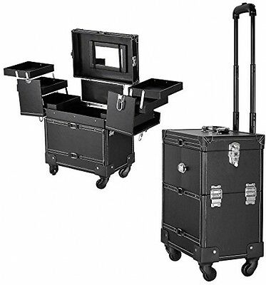 Professional Leather Makeup Vanity Cosmetic Hairdressing Nail Case Trolley black