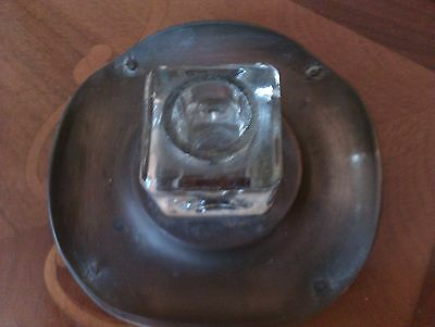 Antique Metal And Glass Inkwell
