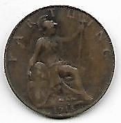 King George V 1915 Farthing Cirulated Uncleaned Coin