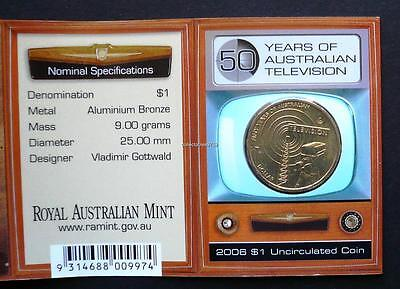 2006 50 YEARS OF TELEVISION One Dollar Uncirculated Coin Mintmark C