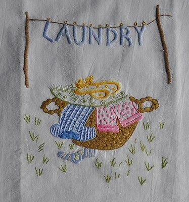Vintage Cotton Drawstring Laundry Bag - Hand Embroidered - Morgan & Finch