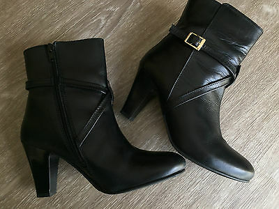Basque Ladies Black Leather Ankle Boots – Size 38