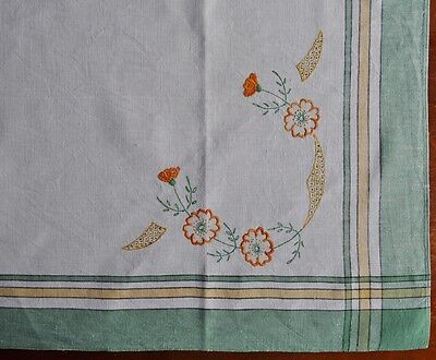 Vintage Tablecloth - Hand Embroidered - 87cm Square - Linen