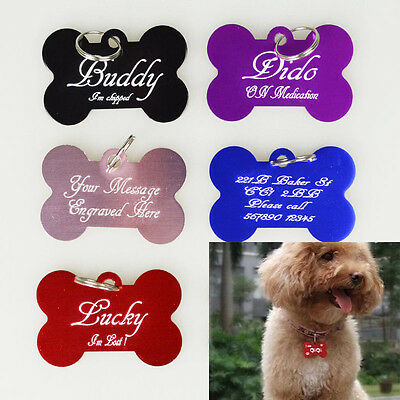 Personalised Engraved Pet Dog Cat Puppy 38mm Name ID Bone Tag Collar Identity UK
