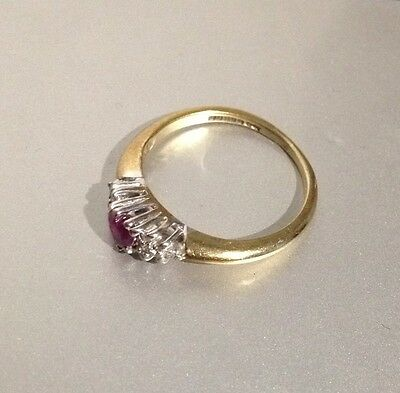 Unusual 9Ct Gold Diamond And Ruby Ring