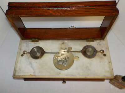 Rare Antique Marble Top Apothecary Pharmacy Scale Scruple Weights Henry Troemner