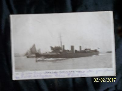 1907 rotary postcard of H.M.S QUEEN SHIP /STAMPED