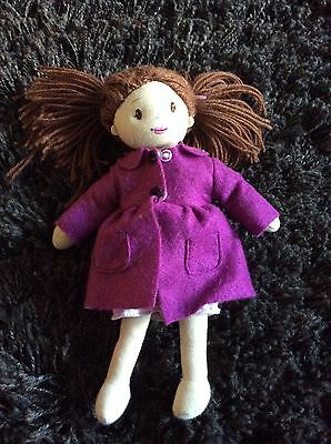 Ragtales Doll With Brunette Hair In Bunches And Purple Coat Soft Toy
