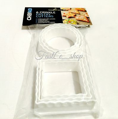 Chef Aid 6 Piece Crinkle Pastry Cutter Set, White