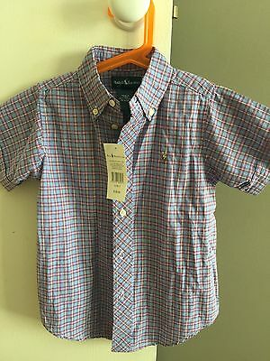 Ralph Lauren Boy Short Sleeves Button Up Shirt Sz5 New With Tag