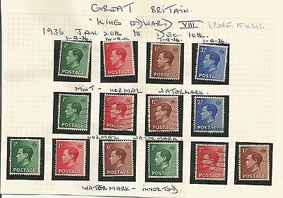 King Edward 1936 Mm And Used Set Of Four Plus Inverted Watermarks 223