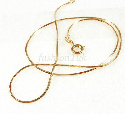Unisex 45cm Shiny Men Women Snake Rope Cube Chain Necklace 18K Gold Plated