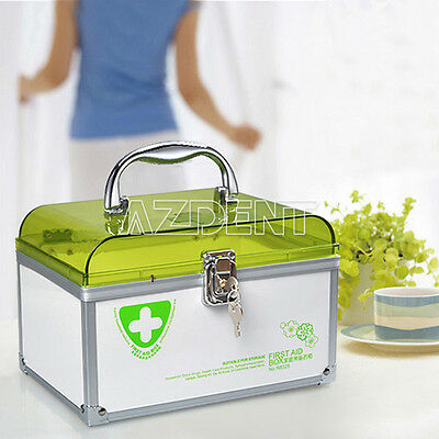 1x Portable Medicine Cabinet / First Aid Box 6 Layers of Grid With 2 Keys Green