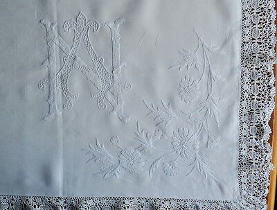 Antique French Linen Embroidered Pillowcase - Hand Embroidered Monogram