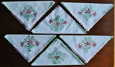 6x Vintage Napkins - Embroidered - Cotton - Floral - Upcycle