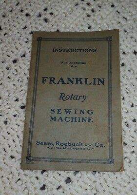 Antique / Vintage Franklin Rotary Sewing Machine Instruction Operating Book