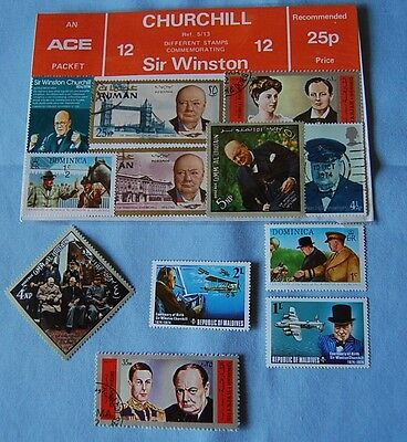 stamps commemorating Sir Winston Churchill