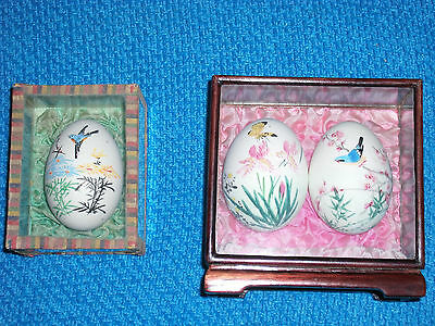 3 x VINTAGE PAINTED EGGS ~ MOUNTED IN GLASS & WOOD FRAMES in GREAT CONDITION