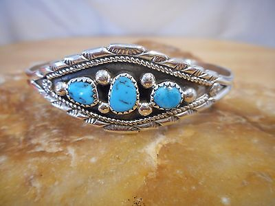 Bracelet Native American Sterling Silver Turquoise By Navajo Ida McCary