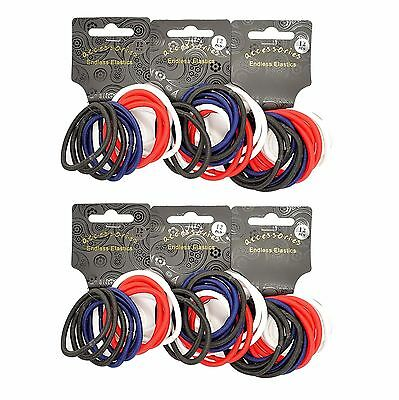 72  x  Thick Spectator Coloured Endless Snag Free Hair Elastics/ Bobbles/ Ponios