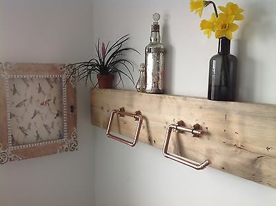 Copper Pipe Towel Ring And Toilet Roll Holder Industrial/Vintage/Modern